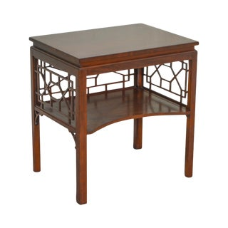 Baker Mahogany Chippendale Style Lattice Side Table