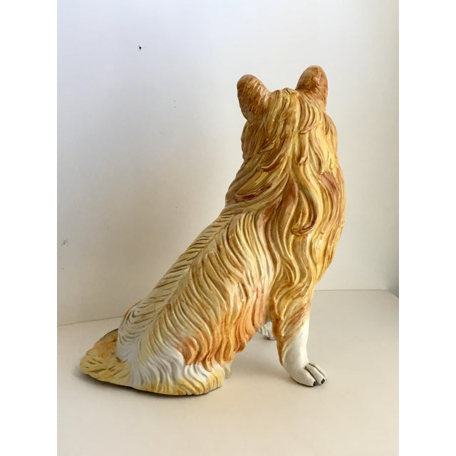 Hollywood Regency Italian Ceramic Collie Statue For Sale - Image 3 of 9