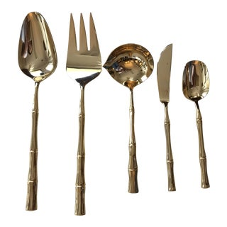 Gold Bamboo Handle Hors D'Oeuvres Utensils - Set of 5 For Sale