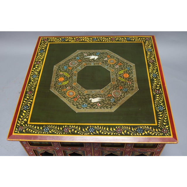 1920s Asian Painted Wooden Coffee Table For Sale - Image 5 of 6