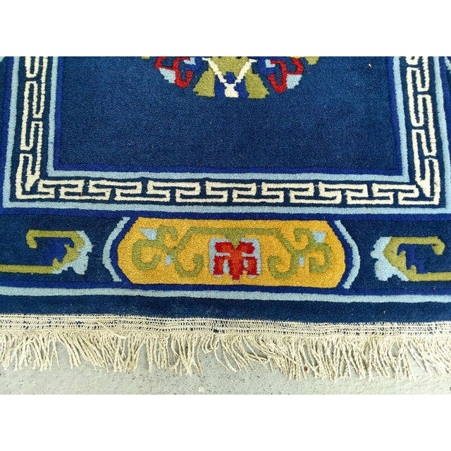 Hand-Knotted Wool, Navy Blue Asian Rug - 2′12″ × 6′1″, Vintage For Sale - Image 4 of 6