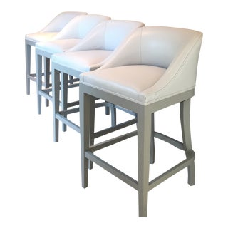 Custom Leather Upholstered Counter Stools - Set of 4 For Sale