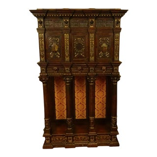 1700s Antique Century Italian Tuscan Renaissance Style Carved Cabinet For Sale