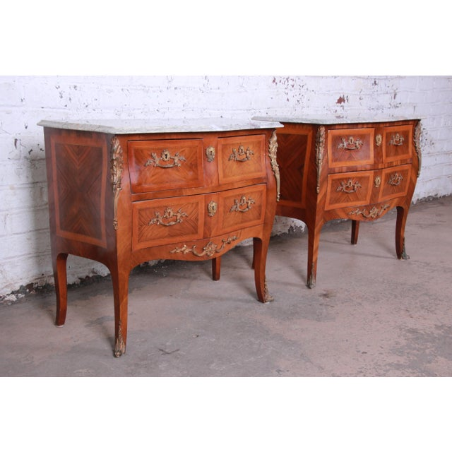 French Louis XV Style Inlaid Mahogany Marble Top Nightstands or Commodes, Pair For Sale - Image 3 of 13
