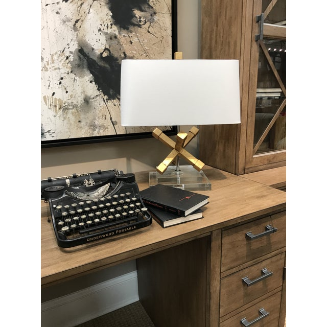 Metal Contemporary Jackson Square Gold Steel Table Lamp For Sale - Image 7 of 7