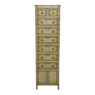 Tall Bamboo Motif Paint Decorated Lingerie Chest For Sale