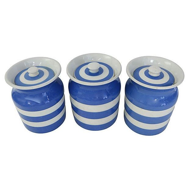 Vintage English Cornishware Canisters - Set of 3 - Image 3 of 4