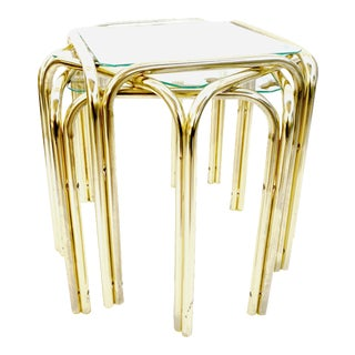 Three Available | Vtg Post Modern Brass & Glass Accent Tables | Glam Chic Bauhaus Style Side Tables For Sale