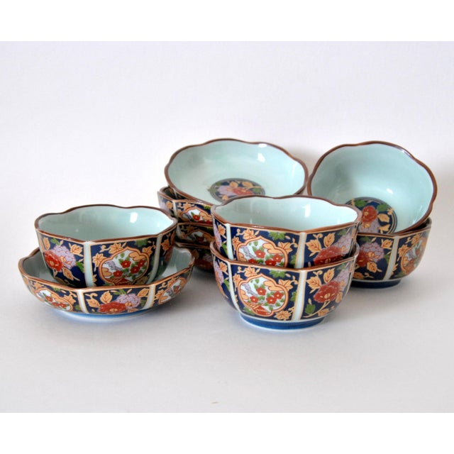 Imari Cherry Blossom Tea Cups and Saucers in Hinoki Wood Box - Set of 10 For Sale - Image 9 of 9