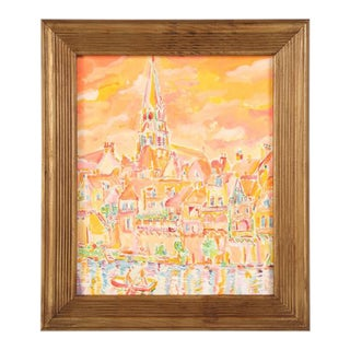 French Village Acrylic Painting Signed by Roland David For Sale