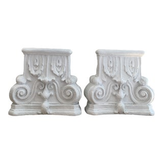 Vintage Neoclassical Plaster Bookends- a Pair For Sale