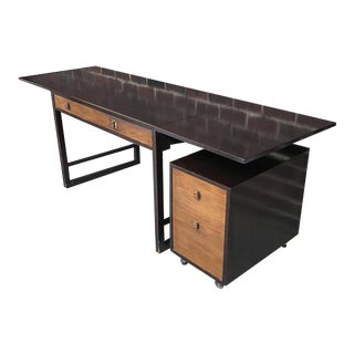 1960s Mid-Century Modern Dunbar Fold Out Tanker Desk