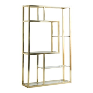 Vintage Brass Etagere With Glass Shelves For Sale