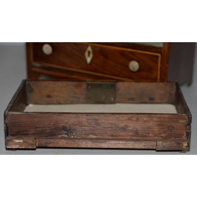 19th Century Miniature Mahogany Salesman Sample Chest of Drawers W/ Inlay For Sale - Image 9 of 12