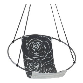 Rose Black on Grey Hand Stitched Genuine Leather Sling Chair For Sale
