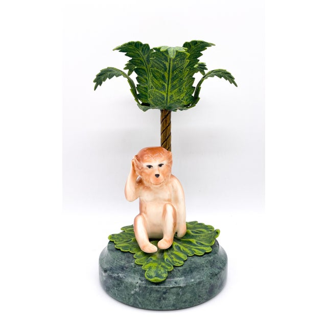 Hollywood Regency 20th Century Hollywood Regency Monkey Palm Tree Tole, Ceramic and Marble Candlesticks- a Pair For Sale - Image 3 of 10