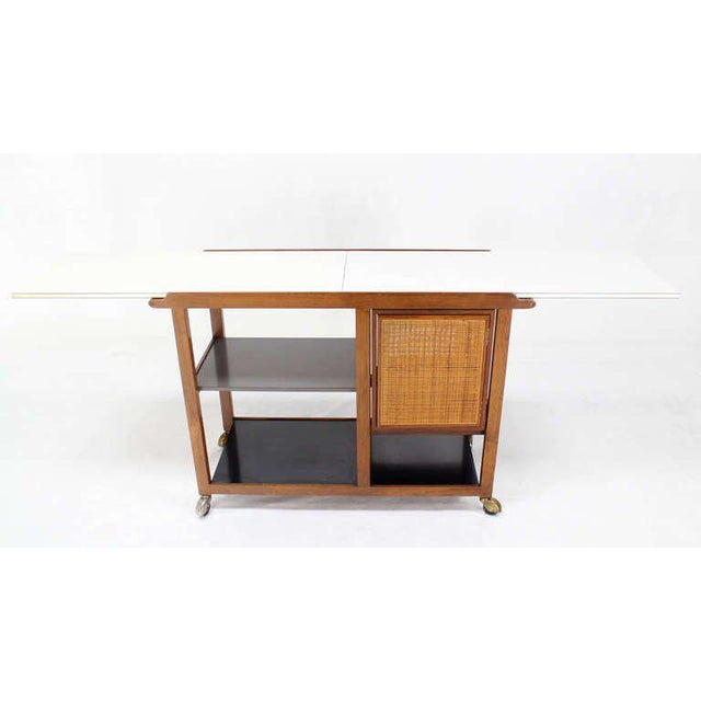 Mid-Century Modern Flip-Top Walnut Serving Cart For Sale - Image 9 of 9