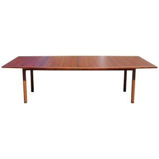 Mid-Century Modern Rare Dunbar Expandable Dining Conference Table Two Leaves For Sale