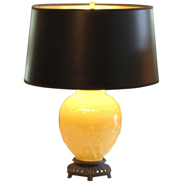"""Vintage Stangl Art Deco Pottery """"Archers"""" Atomic Yellow Large Globe Vase Lamp For Sale - Image 11 of 11"""
