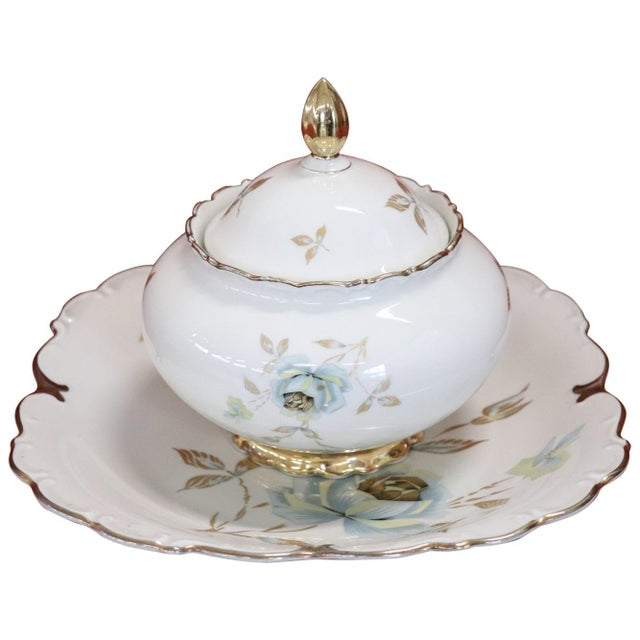 Hand Painted and Gold Porcelain Centerpiece by J Seltmann 2 Pieces, 1930s For Sale - Image 11 of 11