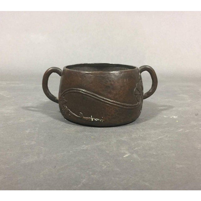 A beautiful melding of the Arts & Crafts movement with hints of Art Nouveau in design. Hand-hammered copper with floral...