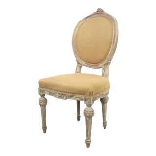 French Distressed Painted Burlap Side Chair For Sale