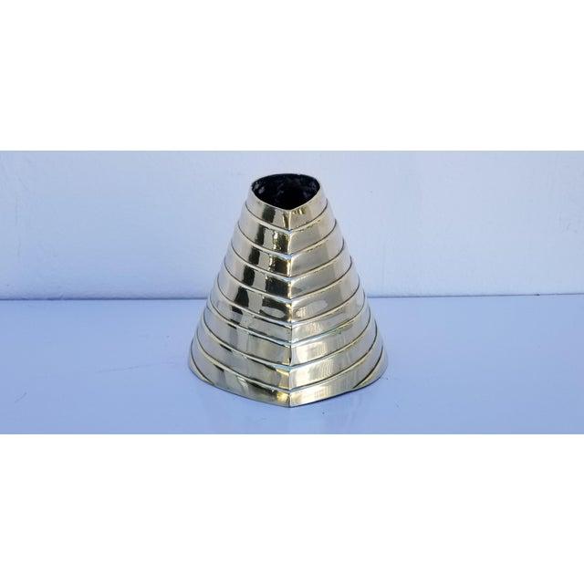 Vintage Sculptural Solid Brass Polished Decorative Vase For Sale - Image 4 of 9
