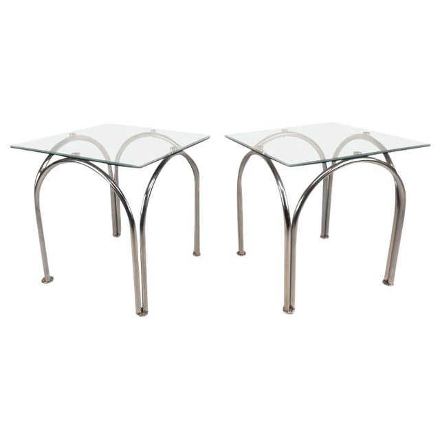 Fine Mid Century Modern Glass And Chrome End Tables Download Free Architecture Designs Grimeyleaguecom