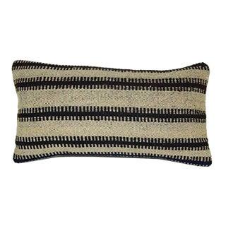 Striped Unique Lumbar Pillow, Tribal Turkish Kilim Cushion 10'' X 20'' (25 X 50 Cm) For Sale