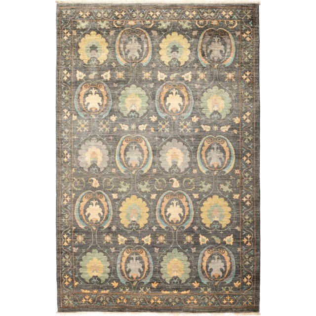 "Suzani Hand-Knotted Area Rug 5' 1"" x 7' 10"" For Sale - Image 4 of 4"