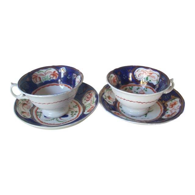 Gaudy Welsh Cups & Saucers -A Pair For Sale