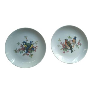 1970s Contemporary White Ceramic Bird Detailed Salad Plates - a Pair
