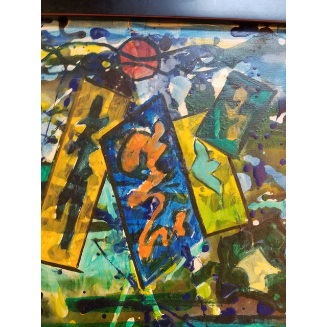 Great little abstract oil on board by Josef Meierhans, New Hope School in an ebonized step frame. Meirerhans has a good...