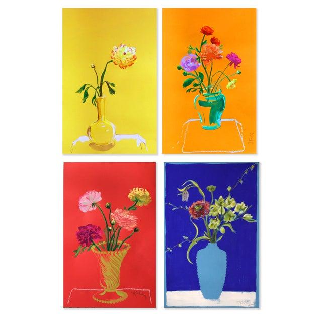 Brilliant Colorful Flower combinations in special vases against vibrant backgrounds. These colorful flowers are in a...