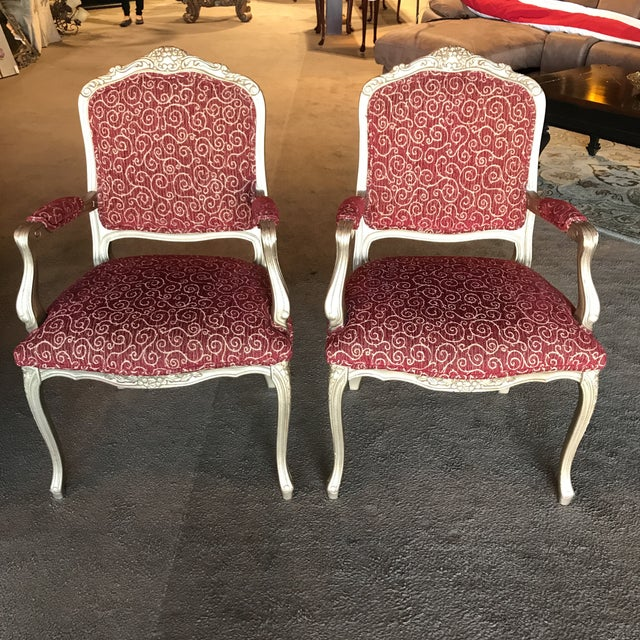 Vintage French Style Arm Chairs - a Pair For Sale - Image 4 of 4