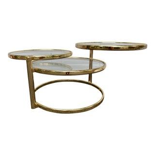 1970s 3-Tier Swiveling Brass Coffee Table For Sale