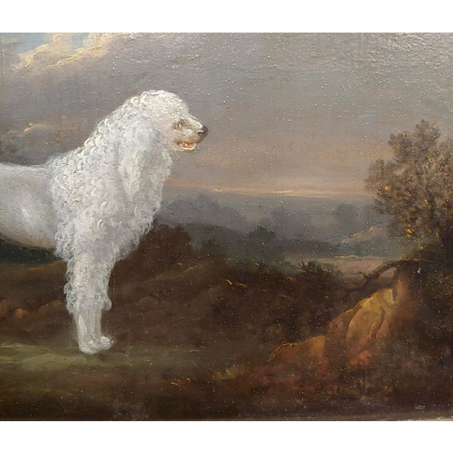 18th Century 18th Century Portrait of White Poodle in a Landscape Oil Painting For Sale - Image 5 of 10