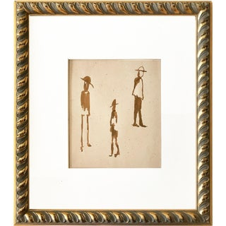 Vintage Modern Abstract Figural Watercolor Painting For Sale