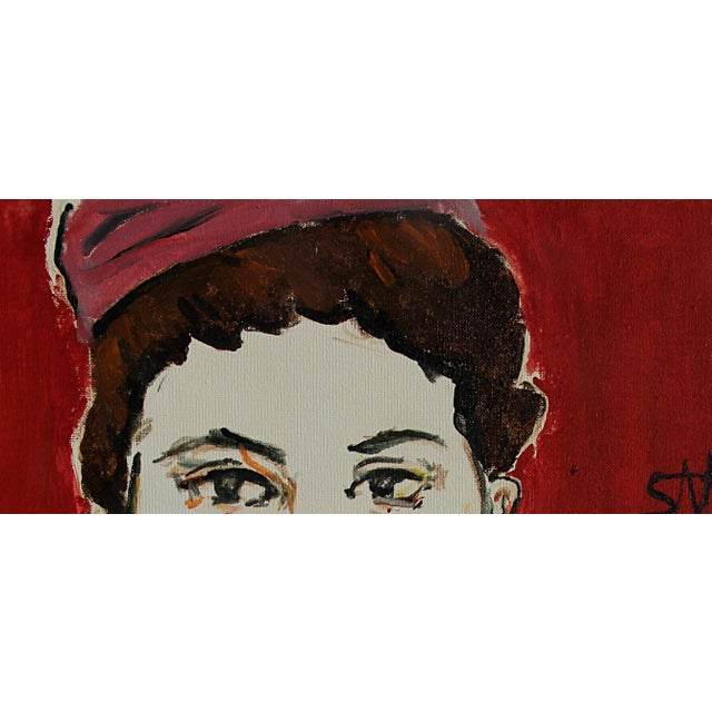 """2010s Contemporary Sarah Myers """"The Pink Toque"""" Acrylic Painting For Sale - Image 5 of 10"""