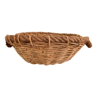 Vintage Oversized Basket With Rope Detailing and Handles For Sale