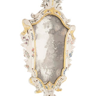 Continental White Porcelain Keystone Etched Wall Mirror For Sale