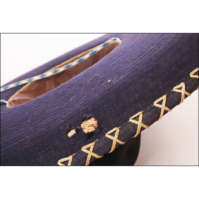 Early Mexican Navy Blue Embroidered Sombrero - Image 10 of 11