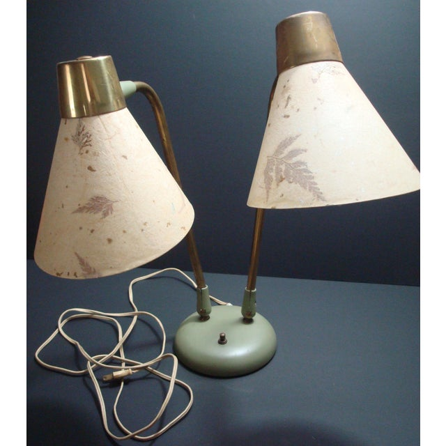 Industrial Adjustable Desk Lamp With Leaf Shades - Image 4 of 5