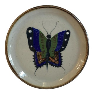 Vintage Japanese Hand Painted Butterfly Wall Plate For Sale