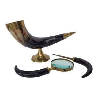 Vintage Brass Buffalo Black Horn Bone Tusk Desk Set - 3 Pieces For Sale