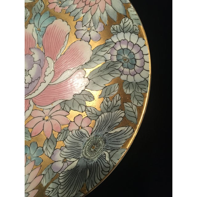 Japanese Chinoiserie Plate in Golds & Pinks For Sale - Image 3 of 9