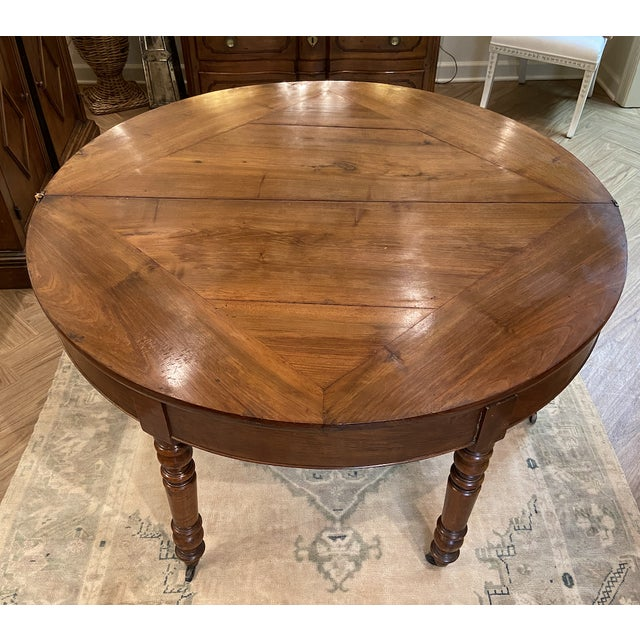 Mid 19th Century 19th Century French Walnut Demilune Table With Turned Legs on Casters For Sale - Image 5 of 11