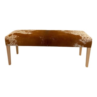 Wooden Bench With Cow Hide Upholstery For Sale