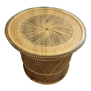 Vintage Boho Palm Beach Organic Rattan Woven Drum Table With Glass Top For Sale