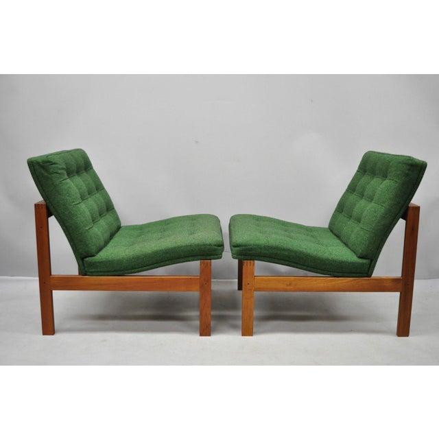 Mid-Century Modern 1960s Vintage Gjerlov Knudsen Torben Lind France & Son Green Teak Moduline Slipper Chairs- A Pair For Sale - Image 3 of 11